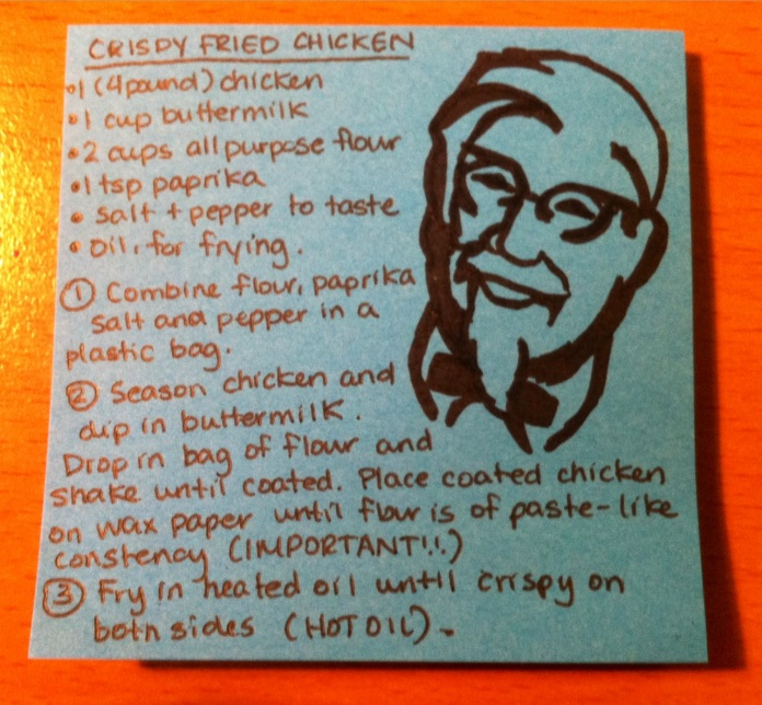 post-it fried chicken